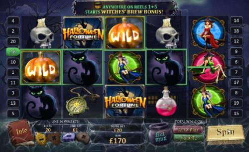 Halloween Fortune Review Slots wild symbol leads to 170 coin jackpot payout