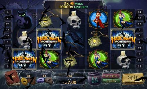 Halloween Fortune Review Slots 3 scatters triggers 100 coin payout