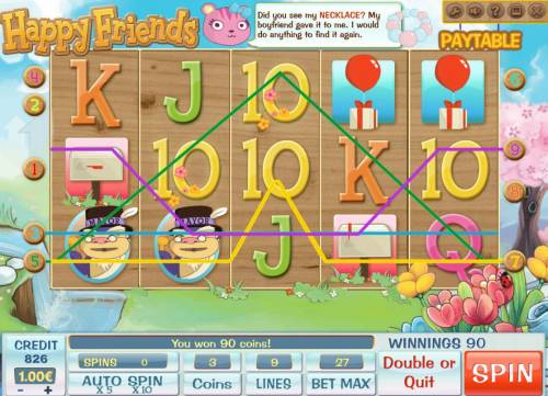 Happy Friends Review Slots Multiple winning paylines triggers a big win!