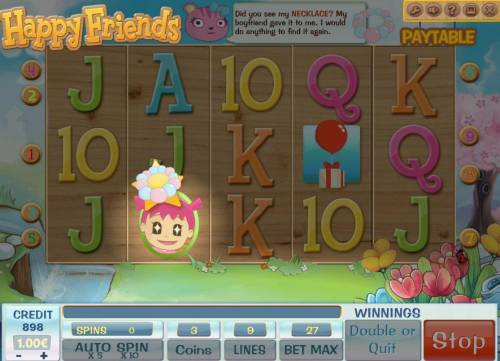 Happy Friends Review Slots Finding the necklace triggers free spins feature.