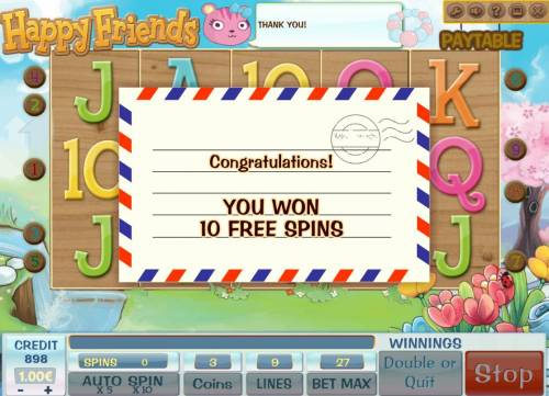 Happy Friends Review Slots 10 free spins have been awarded.
