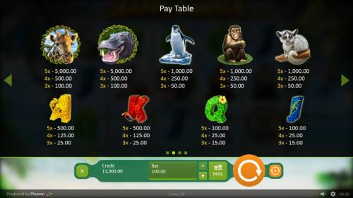 Happy Jungle Review Slots Paytable