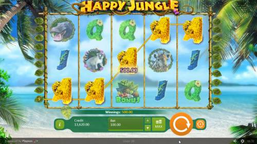 Happy Jungle Review Slots A winning five of a kind