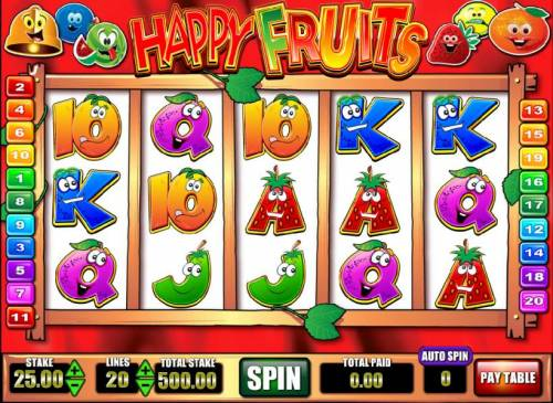 Happy Fruits Review Slots main game board featuring five reels and twenty paylines