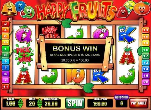 Happy Fruits Review Slots pick-a-win feature pays out a $160 jackpot