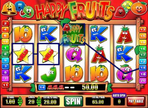 Happy Fruits Review Slots multiple winning paylines triggers a $65 payout