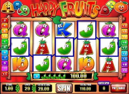 Happy Fruits Review Slots five of a kind leads to a $100 big win