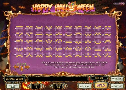 Happy Halloween Review Slots Payline Diagrams 1-50