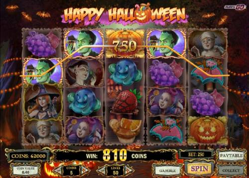 Happy Halloween Review Slots a pumpkin wild symbol completes a four of a kind for a 750 coin line pay