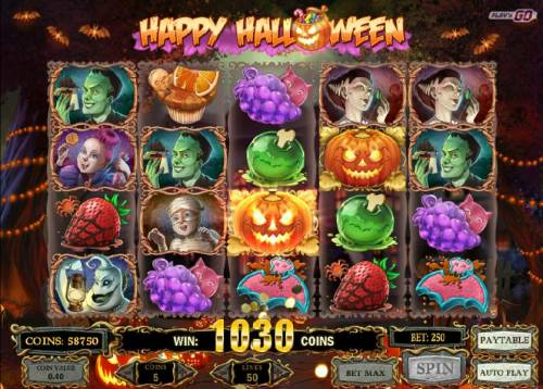 Happy Halloween Review Slots Multiple winning paylines triggers a 1030 coin big win!