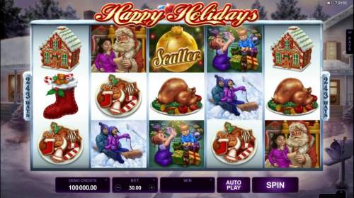 Happy Holidays Review Slots Main game board featuring five reels and 243 and 1024 winning combinations with a $88,000 max payout