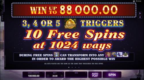 Happy Holidays Review Slots Win up to 88,000.00! 3, 4 or 5 scatter symbols trigger 10 free spins at 1024 ways!