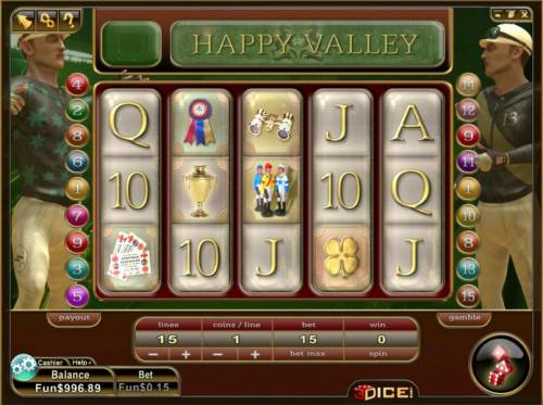 Happy Valley Review Slots main game board featuring 5 reels and 15 paylines