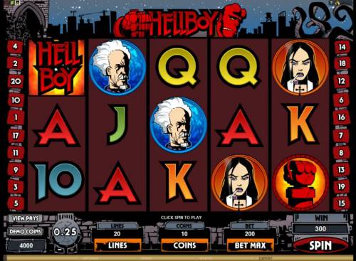 Hellboy Review Slots main game board featuring 5 reels and 20 paylines