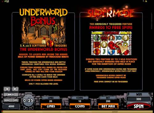 Hellboy Review Slots underworld bonus and supermode free spins feature