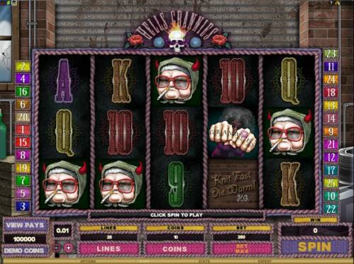 Hells Grannies Review Slots main game board featuring 5 reels and 25 paylines