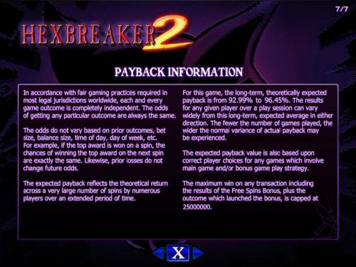 Hex Breaker 2 Review Slots Payback Information - The RTP for this game is 92.99% to 96.45%