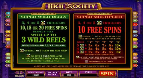 High Society Review Slots Wild and free spins paytable