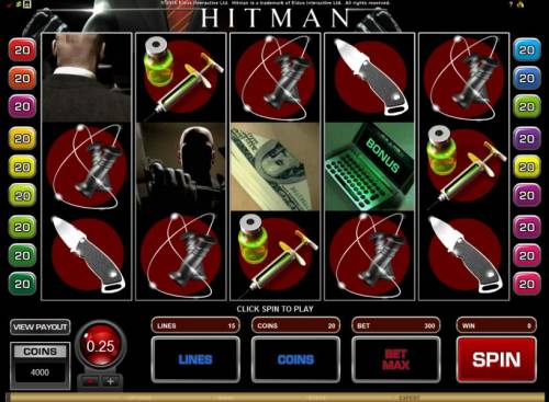 Hitman Review Slots main game board featuring 5 reels and 15 paylines