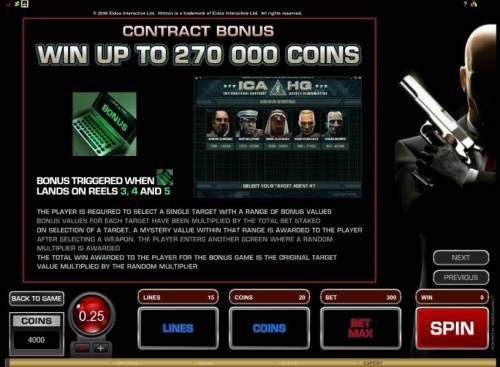 Hitman Review Slots contract bonus triggered when bonus symbol lands on reels 3, 4 and 5