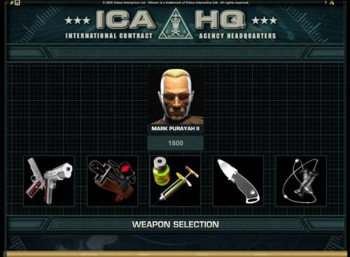 Hitman Review Slots once you have selected your target you will have to select a weapon to use against him
