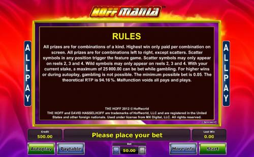 Hoffmania Review Slots General Game Rules - The theoretical average return to player (RTP) is 94.16%.