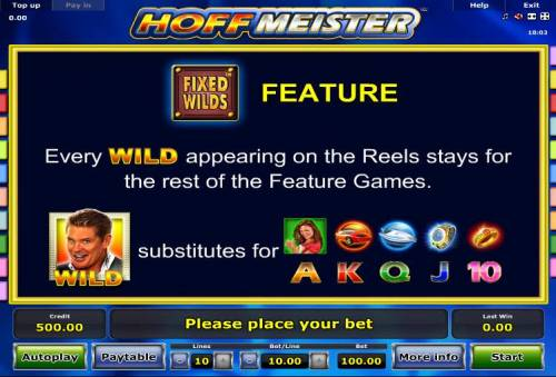 Hoffmeister Review Slots Fixed Wilds Feature - Every wild appearing on the reels stays for the rest of the feature games.