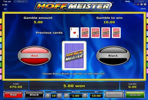 Hoffmeister Review Slots Gamble Feature - To gamble any win press Gamble then select Red or Black.