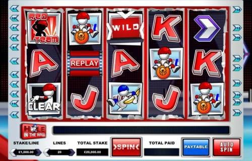 Hole in the Wall Review Slots Main game board featuring five reels and 20 paylines with a $37,500 max payout