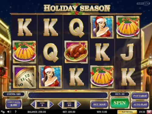 Holiday Season Review Slots A Cristmas Holiday themed main game board featuring five reels and 10 paylines with a $2,000,000 max payout