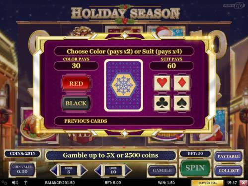 Holiday Season Review Slots Gamble Feature - To gamble any win press Gamble then select color or a suit.