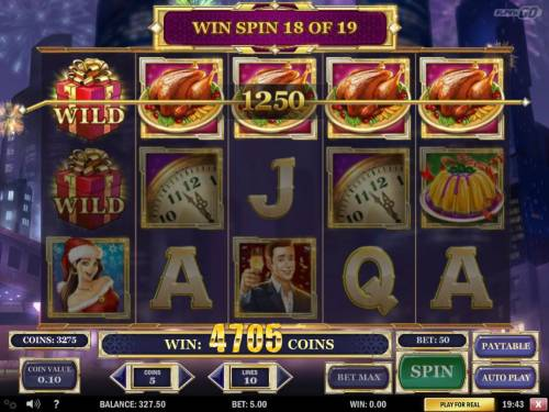 Holiday Season Review Slots A 4705 coin big win triggered by multiple winning paylines.