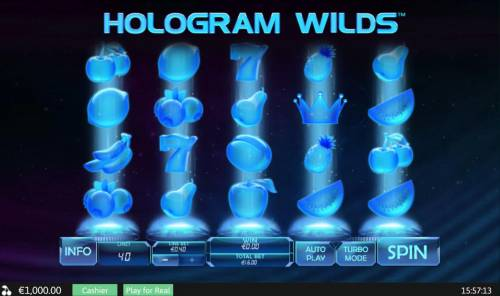 Hologram Wilds Review Slots Main game board featuring five reels and 40 paylines with a $400 max payout.