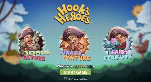 Hook's Heroes Review Slots Win up to 194,800 coins.