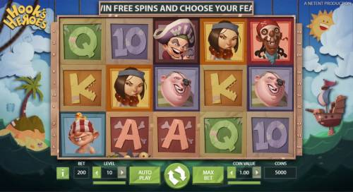 Hook's Heroes Review Slots Main game board featuring five reels and 20 paylines with a $194,800 max payout