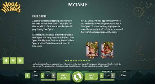 Hook's Heroes Review Slots 3 scatter symbols appearing anywhere on the reels awards Free Spins. The player can choose which of the 3 features they want in play during free spins.
