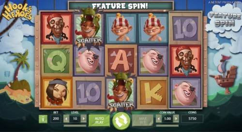 Hook's Heroes Review Slots A pair of scatter symbols triggers a feature spin. A random feature is selected for the free spin.