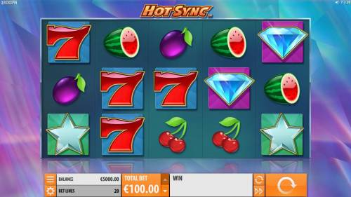 Hot Sync Review Slots A fruit themed main game board featuring five reels and 20 paylines with a $28,480 max payout