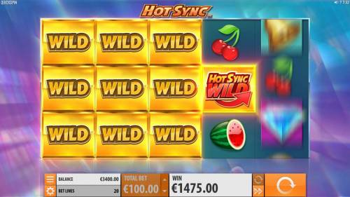 Hot Sync Review Slots A block of wild symbols along with a Hot Sync Wild leads to an epic win.