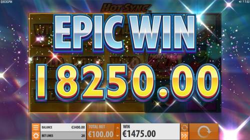 Hot Sync Review Slots An 18,250.00 Epic Win triggered by multiple winning paylines during the Hot Sync Wild Respin feature.