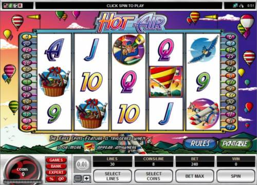 Hot Air Review Slots Main game board featuring five reels and 20 paylines with a $1,000 max payout