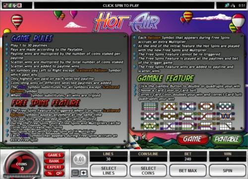 Hot Air Review Slots Game rules, Bonus Feaure rules, Gamble Feature rules and payline diagrams