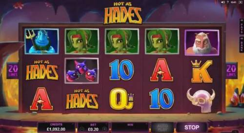 Hot as Hades Review Slots Main game board featuring five reels and 20 paylines