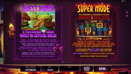 Hot as Hades Review Slots Quest Bonus feature and Super Mode Feature Rules and How to Play