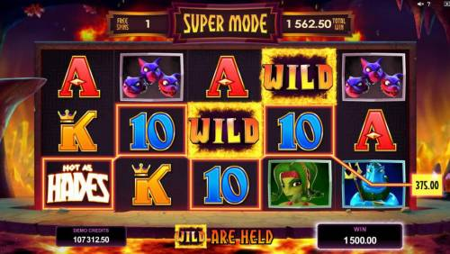 Hot as Hades Review Slots Super Mode game board - 4 free spins