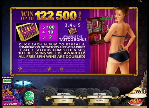 Hot Ink Review Slots during the tattoo bonus click each album to reveal a combination of tattoos and win a prize. if all three tattoos complete a set, 10 free spins will be awarded