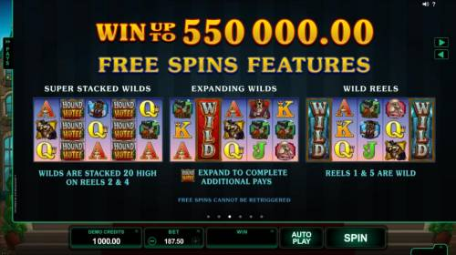 Hound Hotel Review Slots Win up to 550,000.00 Free Spins Feature. Super Stacked Wilds - Wilds are are stacked 20 high on reels 2 and 4. Expanding Wilds - Expand to complete additional pays. Wild Reels - Reels 1 and 5 are wild.