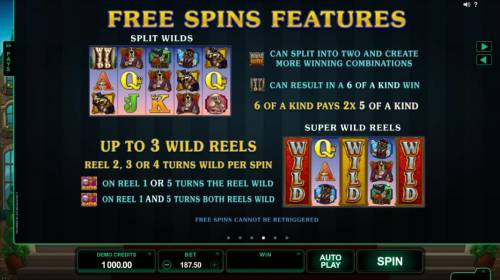 Hound Hotel Review Slots Free Spins Feature - Split Wilds - game logo can split into two and create more winning combinations. Double wild can result in a 6 of a kind win. 6 of a kind pays 2x 5 of a kind. Super Wild Reels - Up to 3 wild reels, reel 2, 3 or 4 turns wild per spin.