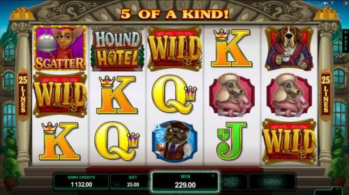 Hound Hotel Review Slots A five of a kind and multiple winning combinations triggers a big win.