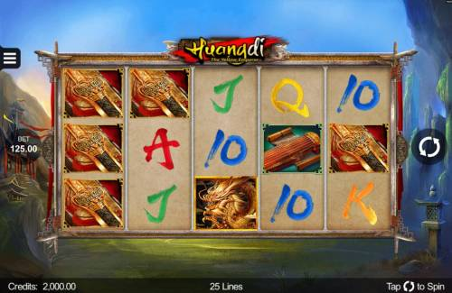 Huangdi The Yellow Emperor Review Slots An Asian themed main game board featuring five reels and 25 paylines with a $300,000 max payout